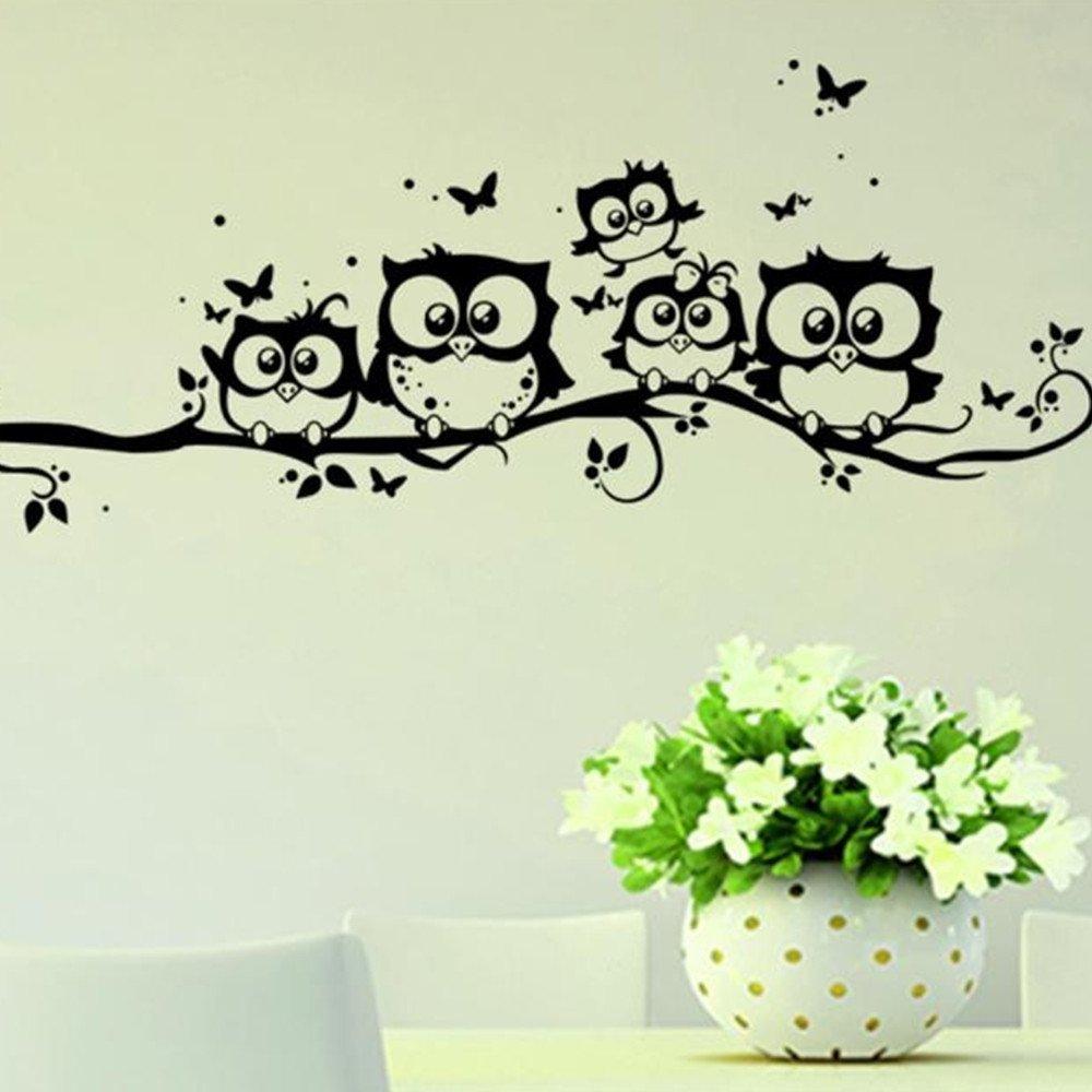 Futemo Kids Vinyl Art Cartoon Owl Butterfly Wall Sticker Decor Home Decal for Nursery Classroom Offices Kids Girl Boy Baby Bedroom Bathroom