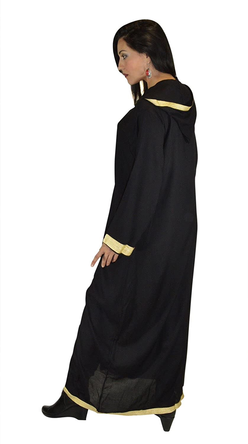 0ed5040e0b118 Moroccan Caftans Women Hand Made Breathable Hooded Caftan Fits Small To  Medium Embroidered Black and Gold at Amazon Women's Clothing store: