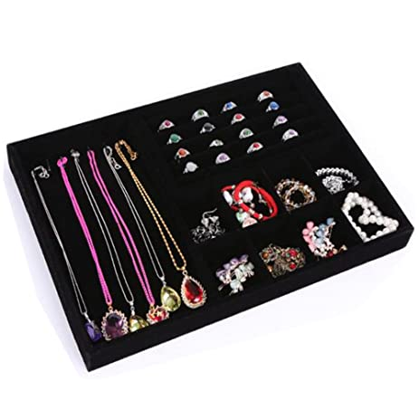 Amazoncom Glitterymall Black Velvet Jewelry Organizer Drawer