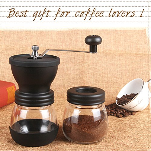Best Gift for Coffee Lovers Manual Coffee Grinder Free Glass Storage Jars/&Spoon Premium Adjustable Ceramic Burr Grinder Hand Crank Mill for Coffee Bean or Spices