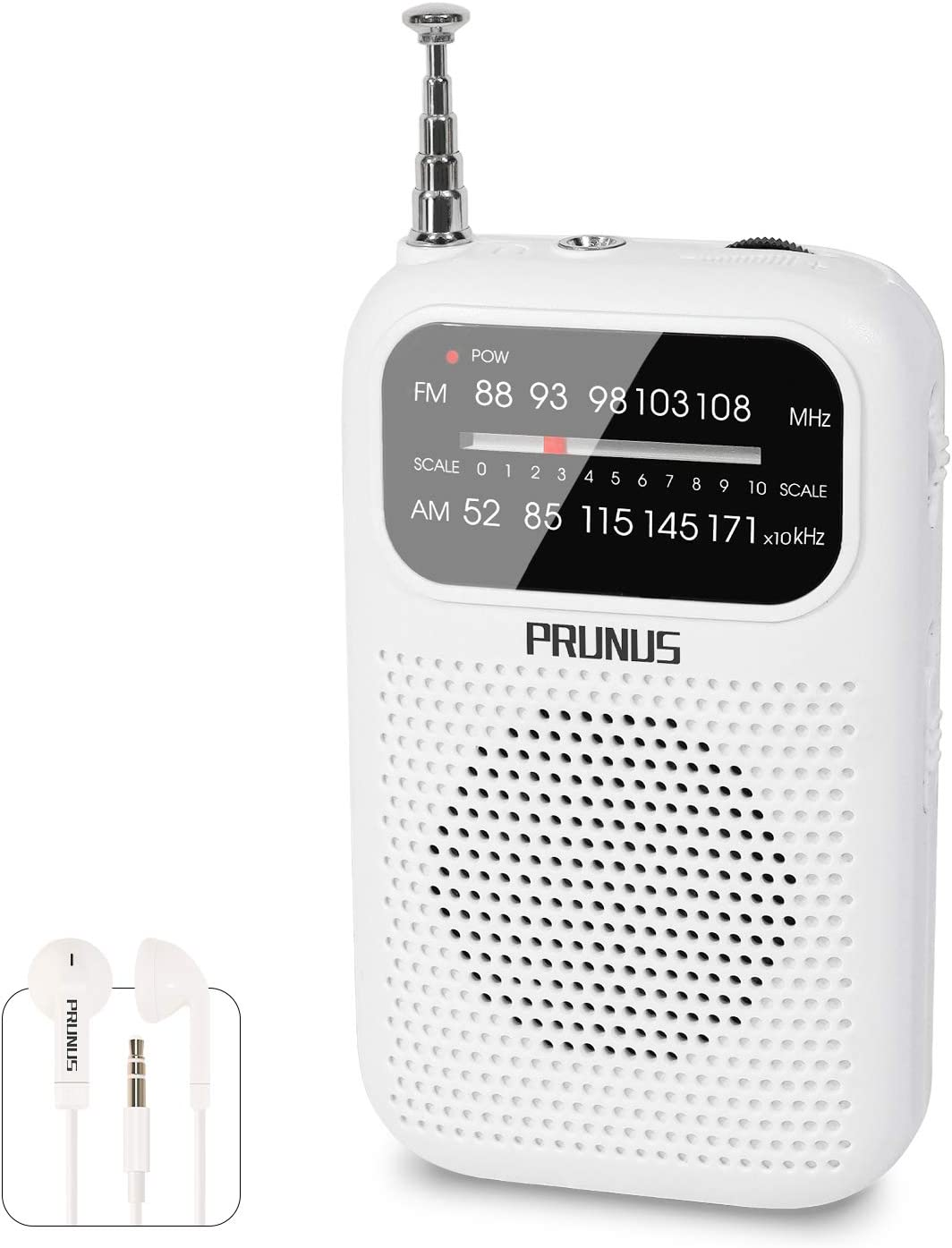 AAA Battery Operated AM//FM Portable Transistor Radio Mini Pocket Radio with Earphones White Tuning Knob with Signal Indicator by PRUNUS