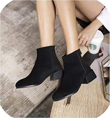 Suede Boots Women Leather Patchwork
