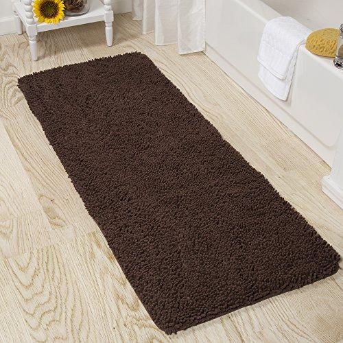 Lavish Home Memory Foam Shag Bath Mat 2-Feet by 5-Feet -Chocolate