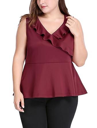 1784ca8f1b3 uxcell Agnes Orinda Women s Plus Size V Neck Sleeveless Ruffle Trim Peplum  Top at Amazon Women s Clothing store