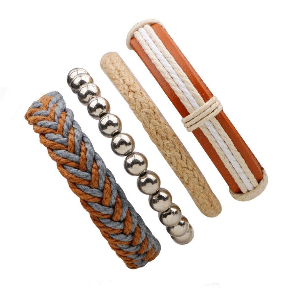 asakusairen 4ラップブレスレットHemp Cords木製ビーズエスニックブレスレットレザーWristbands調節可能 B078RMFTSJ