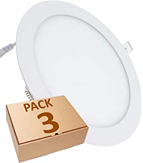 (LA) 3x Panel LED Redondo 18W, Downlight, Blanco Frio 6500K. 1600