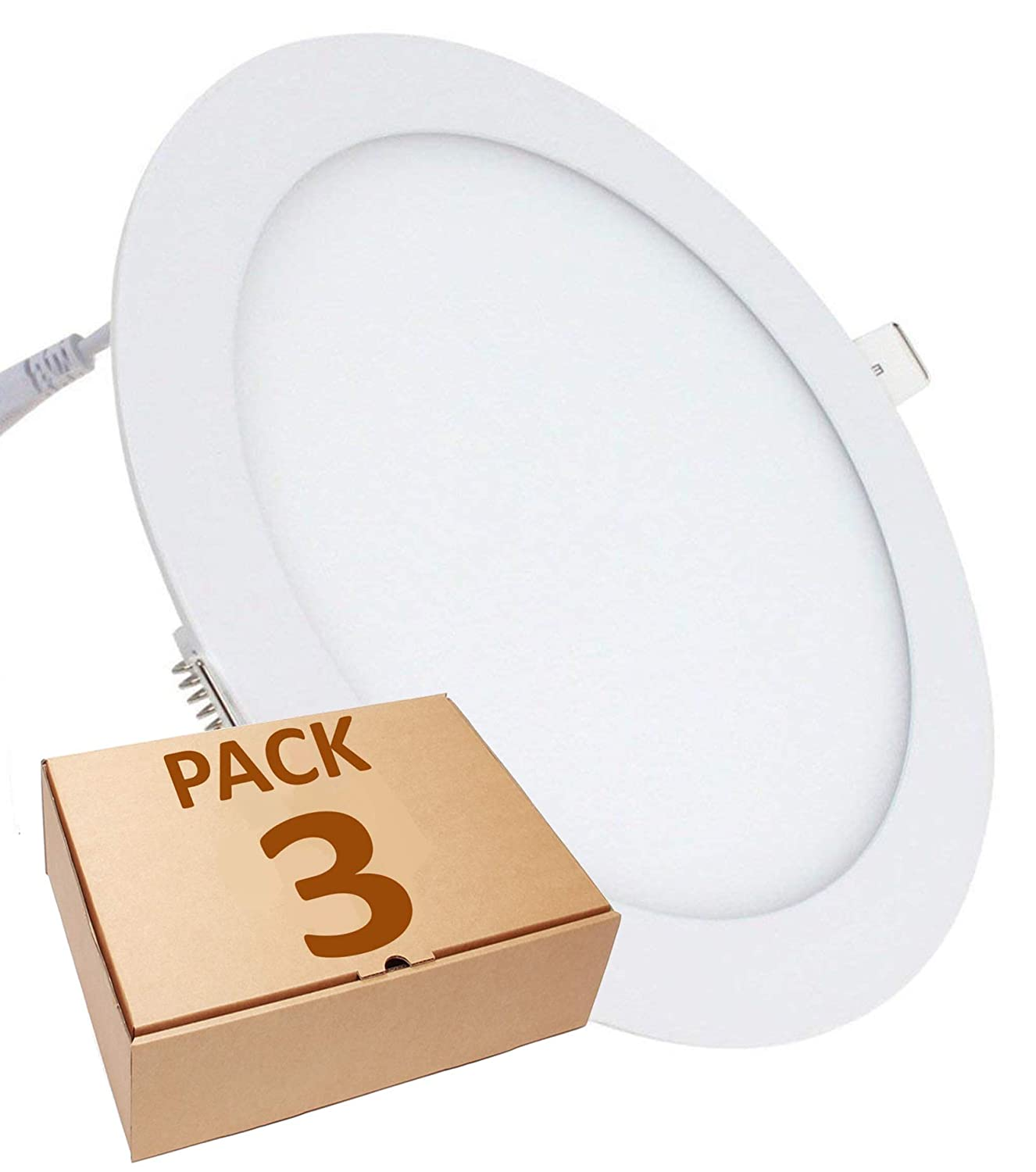 Cold White Pack 3x Round LED Panel 18W Downlight Embed Cut 200mm Standard 1600 real lumens 6500K LA Diameter 225mm.