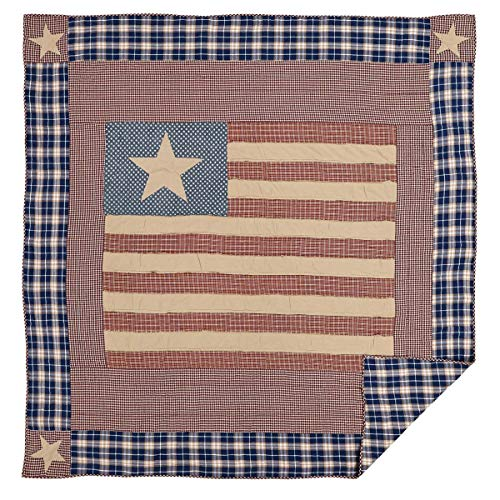 VHC Brands Classic Country Americana Bedding - Independence Red Quilt, Queen