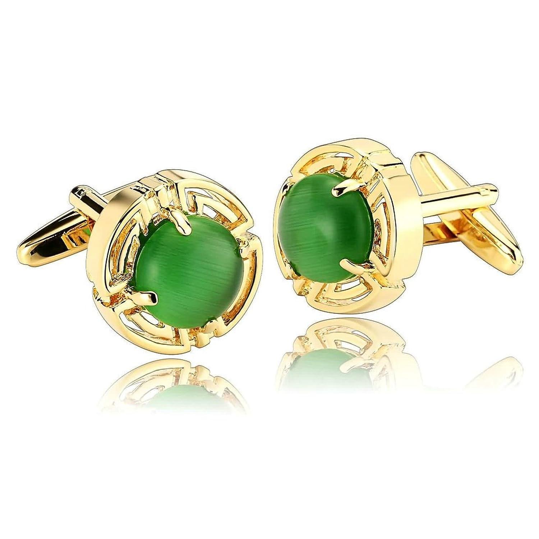 KnSam Men Stainless Steel French Cufflinks Hollow Circle Crystal Gold Green [Shirt Cufflinks Business]