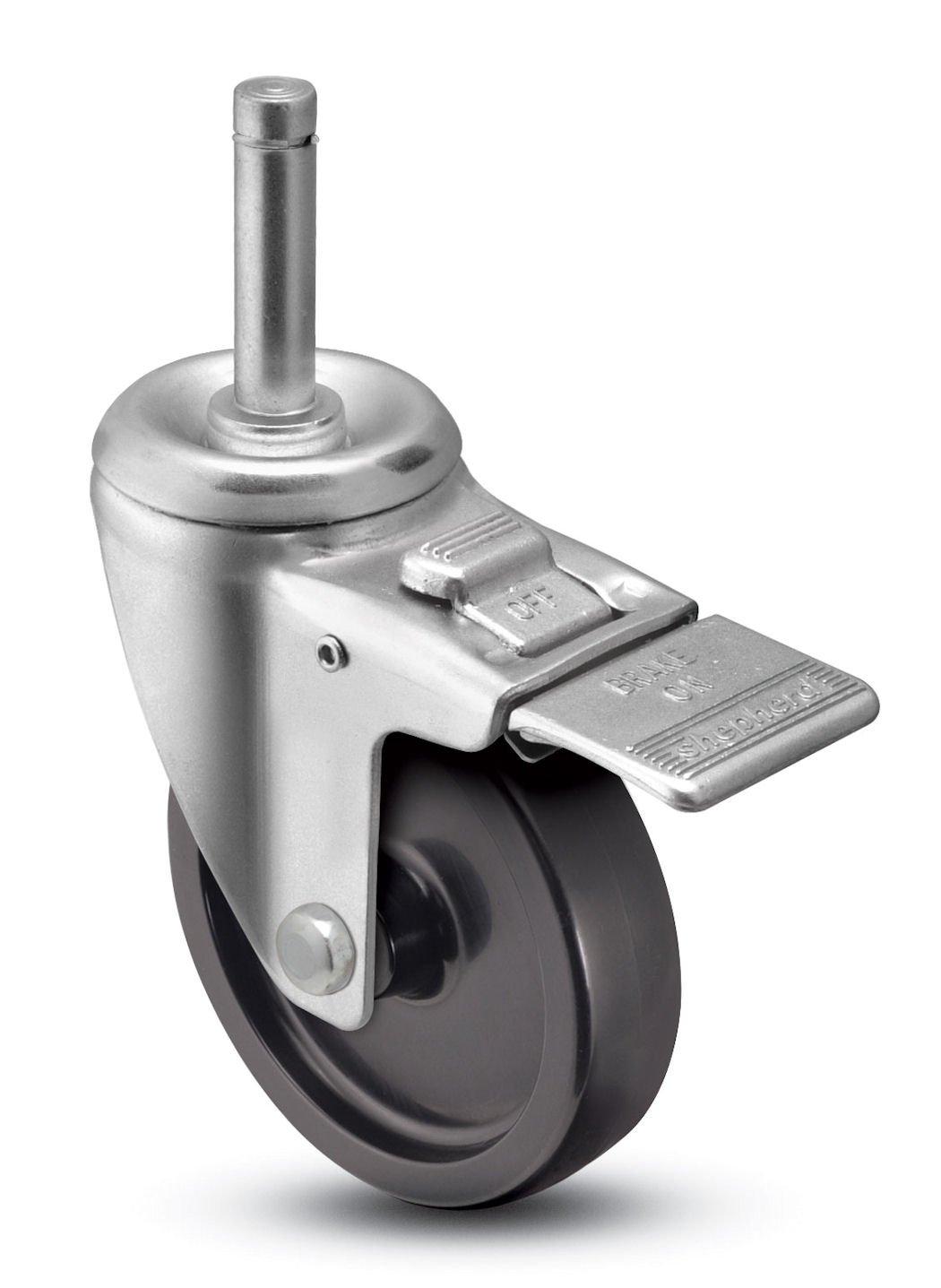 Shepherd Institutional Series 3 Diameter Polyolefin Wheel Total Lock Caster 7//16 Diameter x 1-7//16 Length Brass Band Grip Ring Stem 250 lbs Capacity