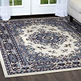 Home Dynamix Premium Sakarya Area Rug by Traditional Persian-Inspired Carpet | Stylish Medallion Print and Classic Boarder Design | Shades of Blue, Cream, Brown and Gray 5'2'' x 7'4''