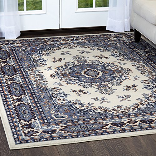 Home Dynamix Premium Sakarya Area Rug by Traditional Persian-Inspired Carpet | Stylish Medallion Print and Classic Boarder Design | Shades of Blue, Cream, Brown and Gray 5'2