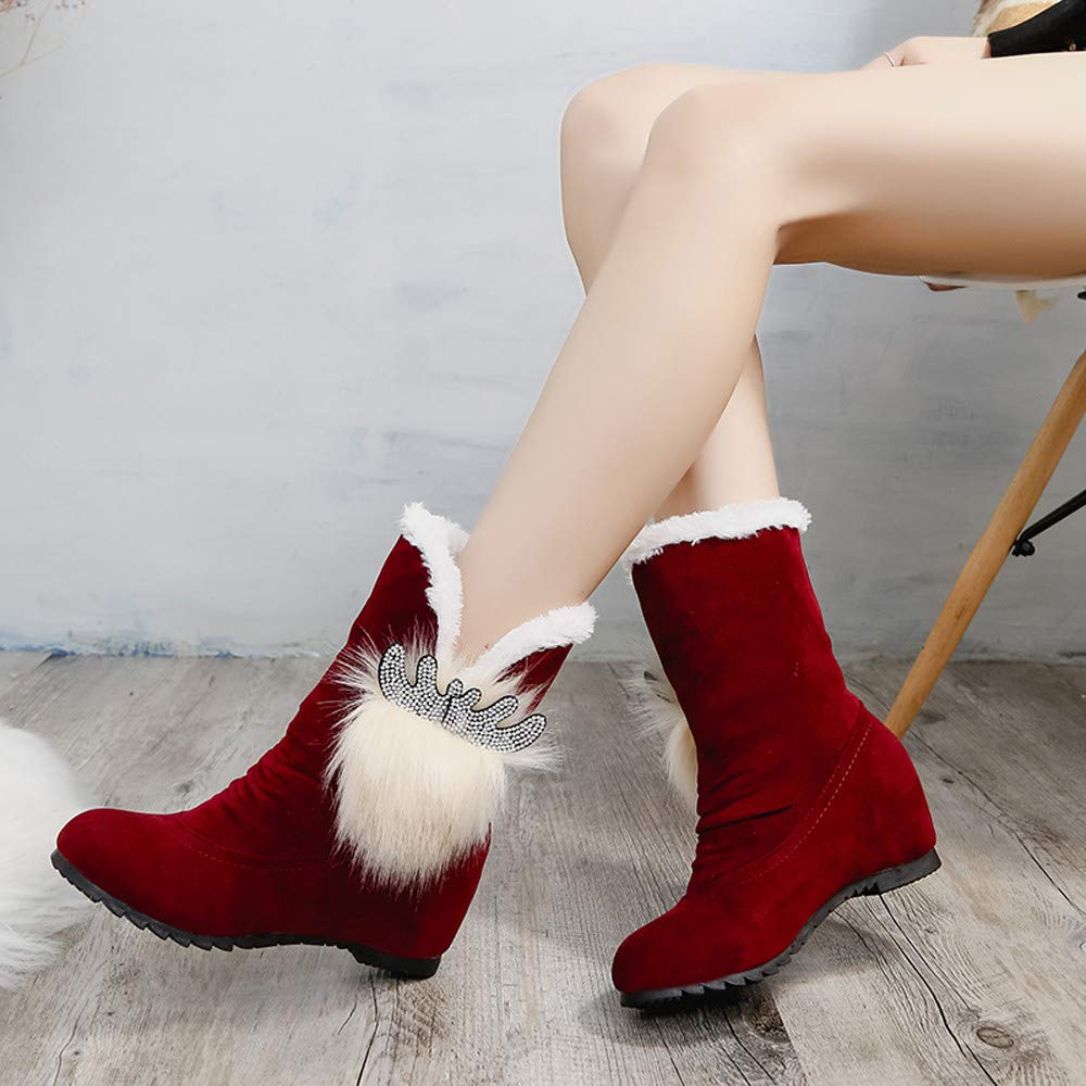 HOSOME Women Snow Boots Keep Warm Slip-On Shoes Suede Solid Color Round Toe Wedges Shoes