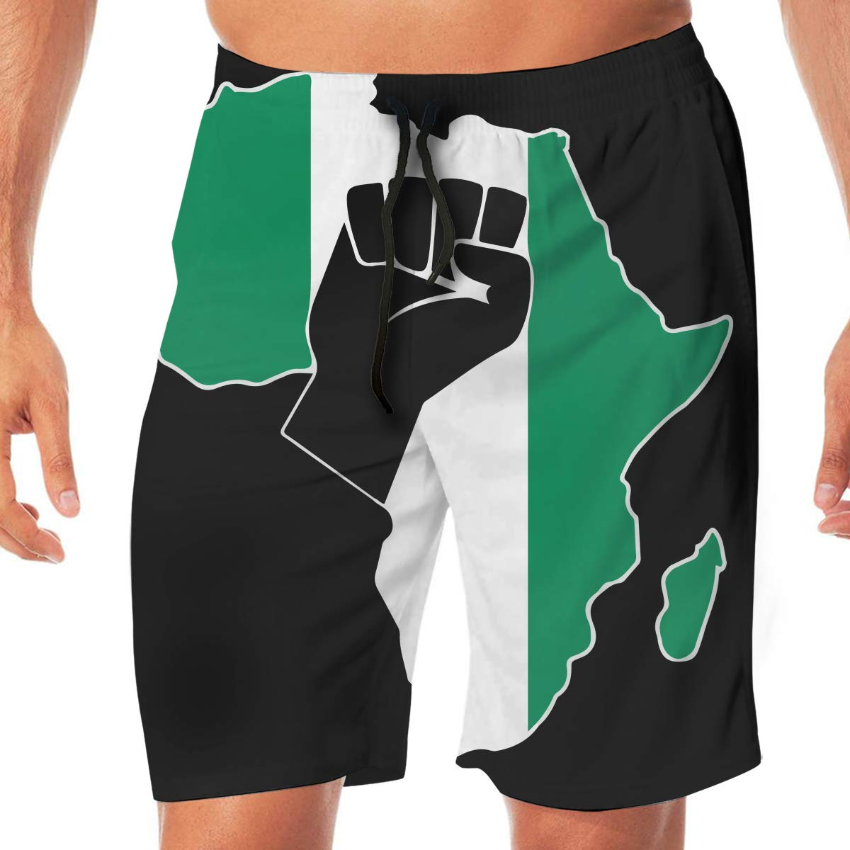 Mens Black Power Raised Fist Boardshorts Swim Trunks No Mesh Lining