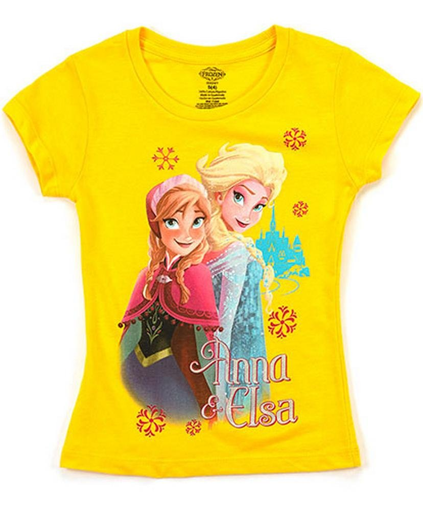 (FESS055) Disney Girls Frozen Graphic Tee Shirt (Sizes 4-16) in Yellow Size: M (5/6)
