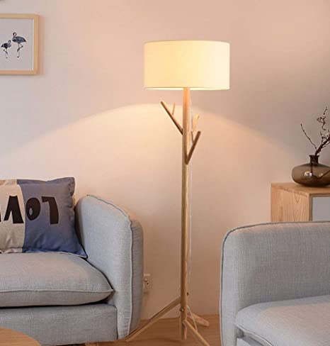 Sanqing Lámpara de pie de árbol de Madera Maciza, Dormitorio ...