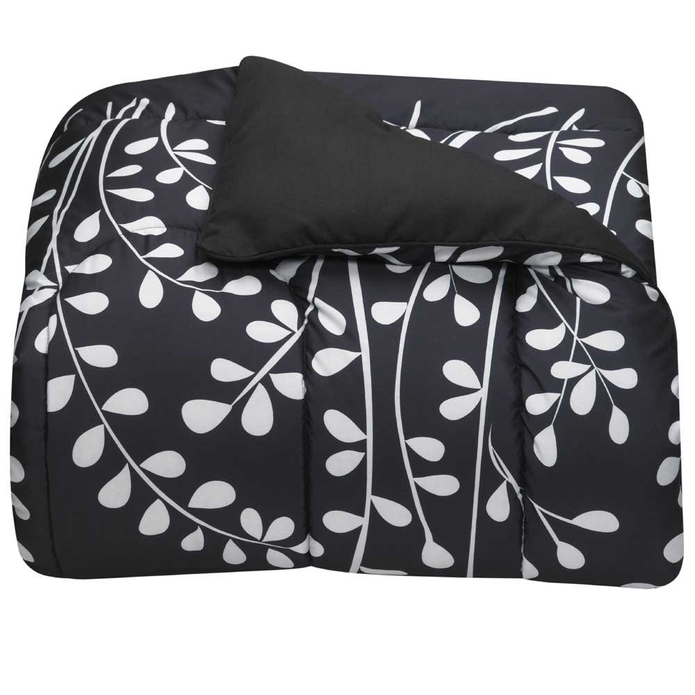Black and White Vines Twin XL Comforter for College Dorm Bedding