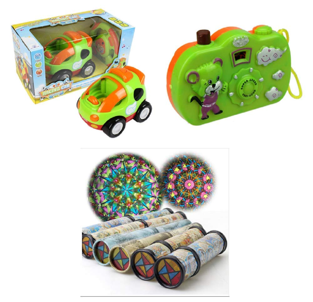 RLLLC RC Car Vehicle Toy Educational Camera Animal Pattern Light Large Rotating Retractable Kaleidoscope Variety Colorful Set