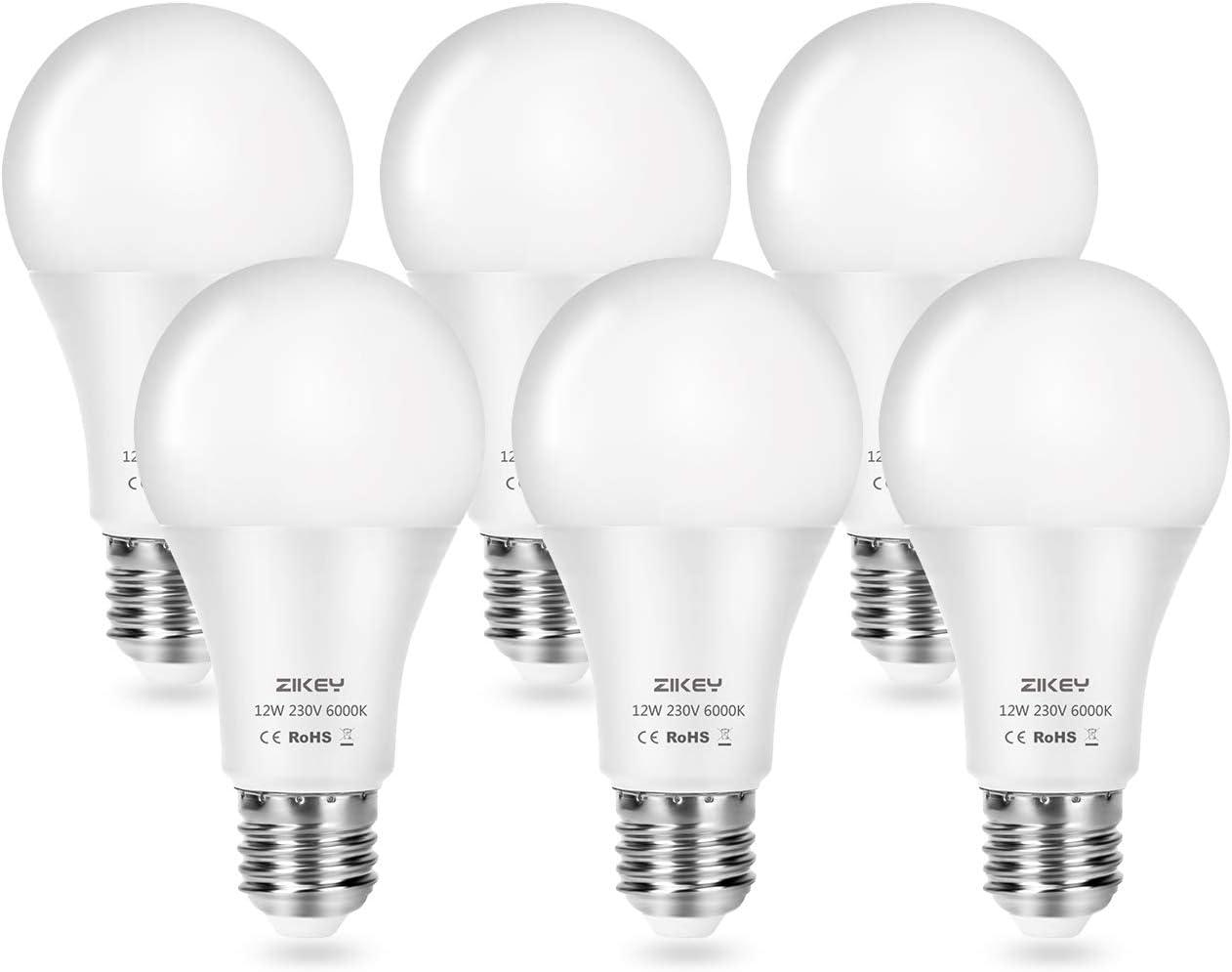 ZIKEY Bombilla LED A65, Casquillo E27, 12 W equivalentes a 100 W, 6000K Luz Blanca Fría, 1100 lúmenes, No regulable - Paquete de 6