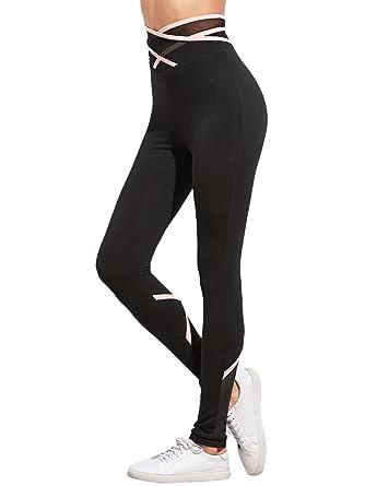 90a95faaebe863 SweatyRocks Women's Yoga Pants Workout Leggings with Wrap Crisscross  Details Black XS