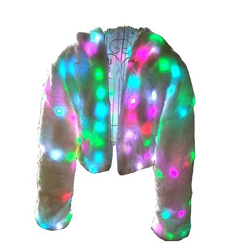 Ohlees® Led Light Up Navidad Parte Faux Fur Chaleco Abrigo Vest Coat Realizar Dance