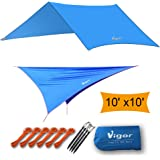 Vigor Hammock Rain Fly, Waterproof Tent Tarp Lightweight 10x10ft Rip-stop Camping Shelter, Picnic Mat for Hiking, Camping, Picnic - Resist UVA/UVB, Include 6 Guy Lines, 6 Tensioners, 4 Stakes