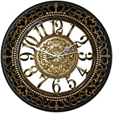 Foxtop 12 Inch Silent Wall Clocks European-style Vintage Retro Antique Royal Style Resin Wall Clock, Creative Home Living Room Boutique Hotel Mute Wall Clock (Gold)