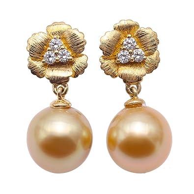 40f9e8f52899 JYX - Pendientes de perlas doradas de 10 mm en oro de 18 quilates y  diamantes  Amazon.es  Joyería
