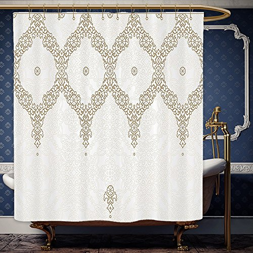 Wanranhome Custom-made shower curtain oroccan Decor Decorative Ornate Background with Traditional Soft Colored Eastern Element and Pattern Curtain Cream Beige For Bathroom Decoration 72 x 84 - Galleria Me Near