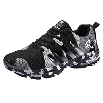 buy popular 3c801 79910 Homme Chaussure de Sport Sneakers Baskets Running Camouflage Rayure Fitness  Mode, QinM Cheville Basses Mixte