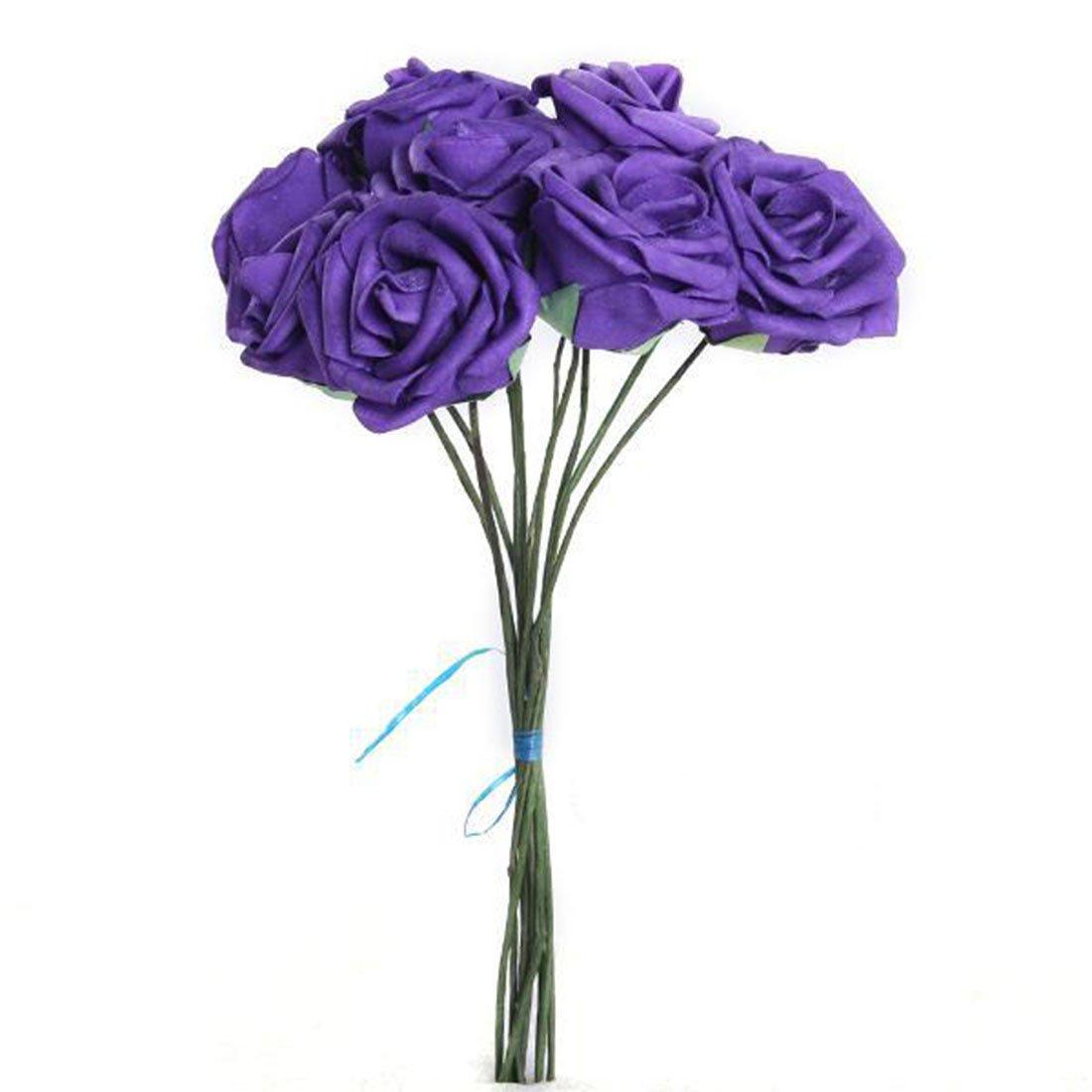 10Pcs Artificial Flower Foam Rose Wedding Bridesmaid Bridal Bouquet Party Decor Purple/&5.5Cm by LovelyLifeAST
