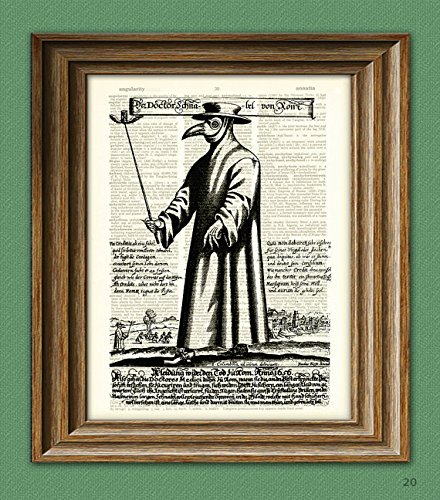 Plague Doctor Art Print mask illustration beautifully upcycled dictionary page book art -