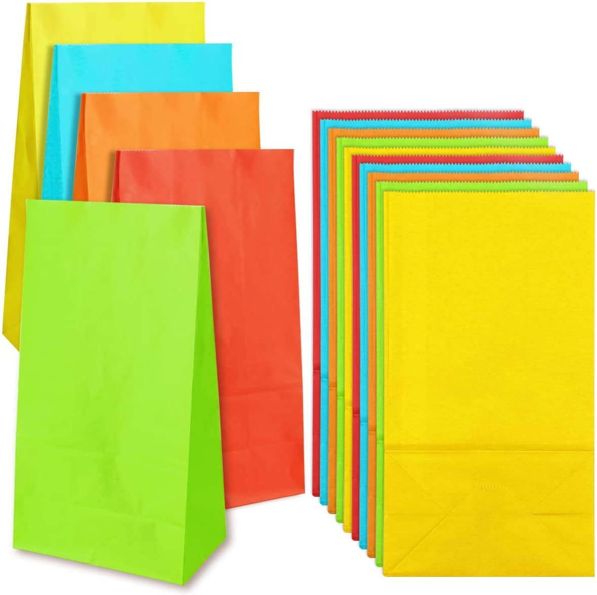 """Newbested 50 Pack Small Rainbow Bright Color Kraft Paper Bags,Flat Bottom Grocery Wrapped Treat Goody Bags for Craft,Birthdays,Baby Showers,Wedding,Party Favor(5 Colors,5.1"""" x 3.1"""" x 9.4"""")"""