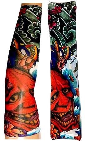 EVRYLON Mangas de Tatuaje con Imagen del Diablo Flores del Demonio ...