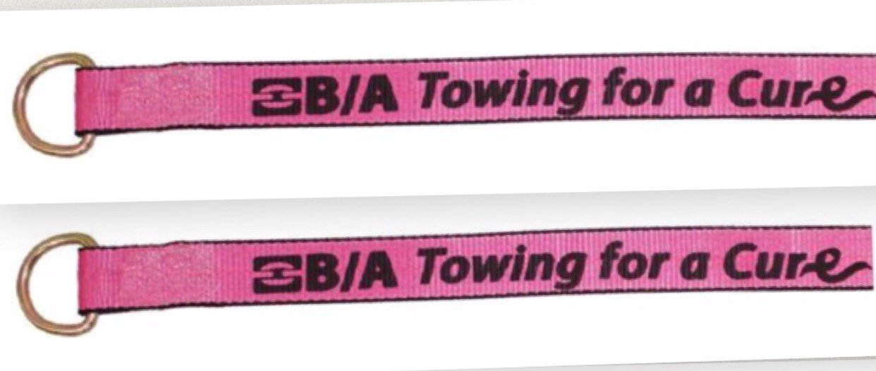 Made USA Cure38-1 Lasso Straps (2) Pink Breast Cancer Awareness Century Wrecker Rollback car Carrier Flatbed Tow Truck