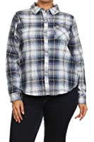 (Plus Size) Long Sleeves Pocket Scalloped Hem Button Up Shirt (MADE IN U.S.A)