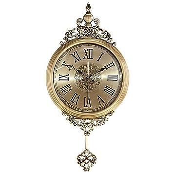 Reloj de Pared para el hogar/Reloj de péndulo de Cuarzo, Reloj Decorativo de Metal Mudo Retro, Adecuado para Sala de Estar, Dormitorio, Comedor: Amazon.es: ...