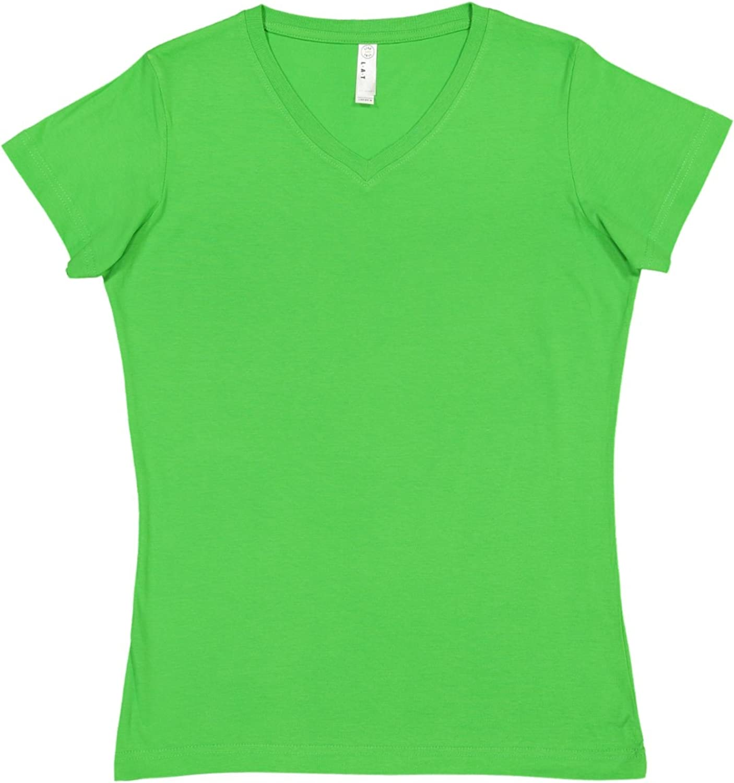 LAT Ladies 100/% Cotton Jersey V-Neck Short Sleeve Tee