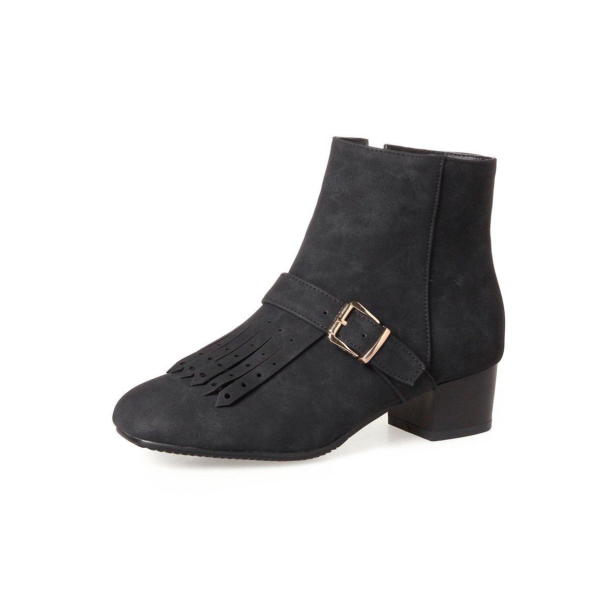 DYF Schuhe Kurze Stiefel Gesäumten Gürtelschnalle Rauhe Rauhe Rauhe Ferse Farbe Groß, Schwarz, 38 08bbee