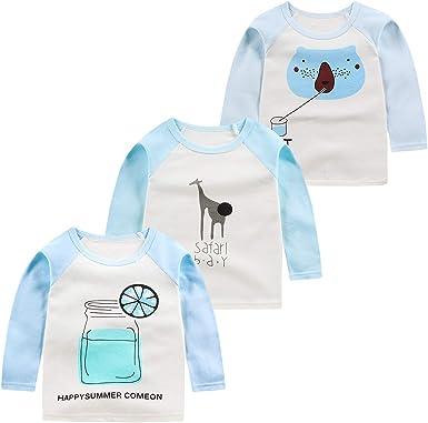 ALLAIBB Bebé Niño Niña Niños Manga Larga Parte Superior Algodón Saltador Camisa Paquete de 3: Amazon.es: Ropa y accesorios