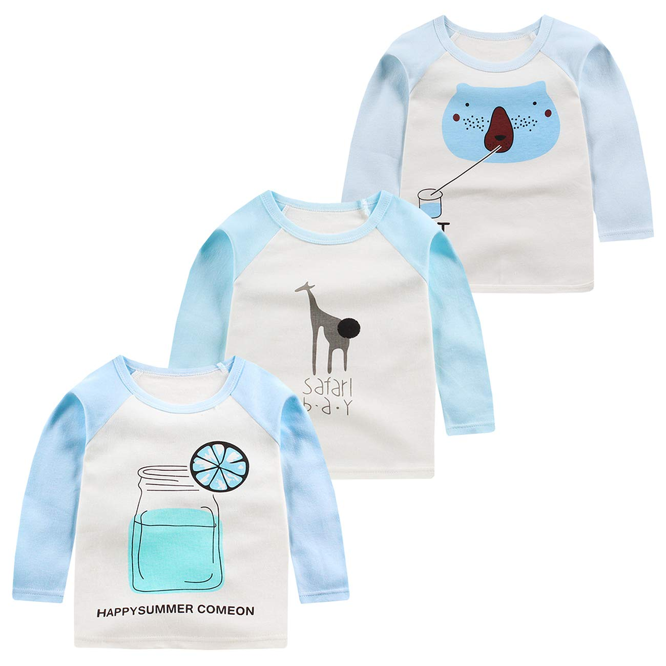 ALLAIBB Baby Boy and Girl Long Sleeve Shirt Cute Print Round Neck Pullover 3Pcs