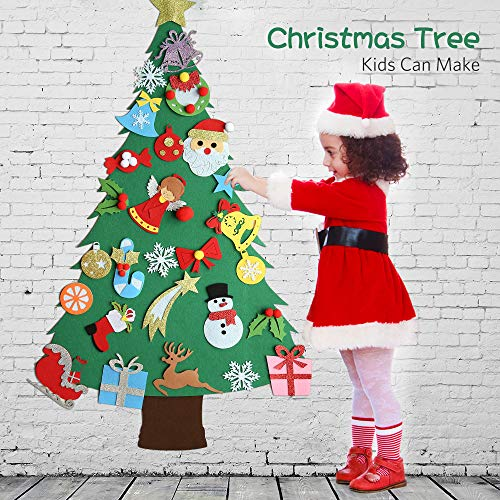 Hanging Christmas Decorations Wall.Meeqee 3ft Diy Felt Christmas Tree Set 28pcs Glitter Coated Ornaments Wall Hanging Xmas Gifts For Kids Christmas Decorations