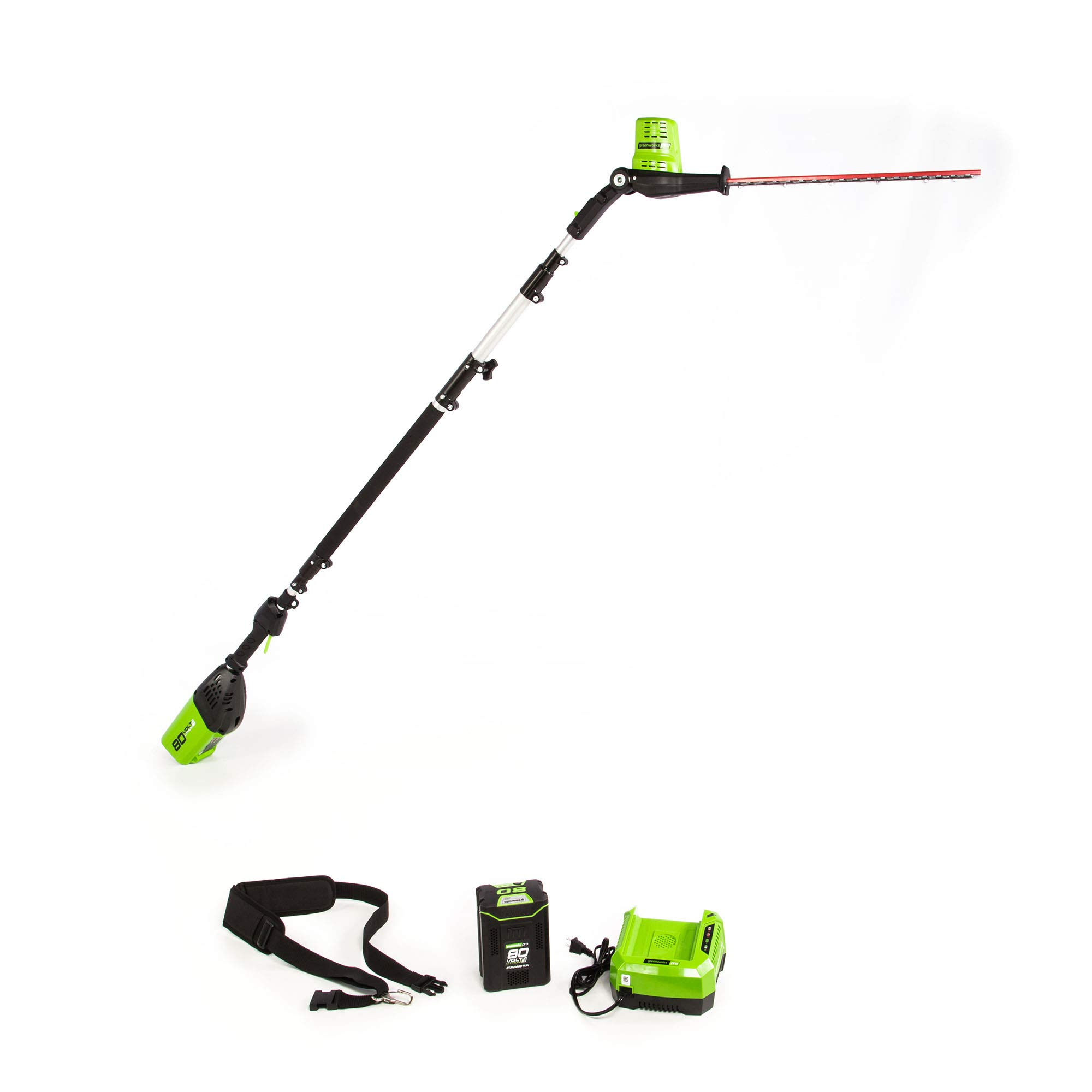 Greenworks 20-Inch 80V Cordless Pole Hedge Trimmer, 2.0Ah Battery and Charger Included PH80B210