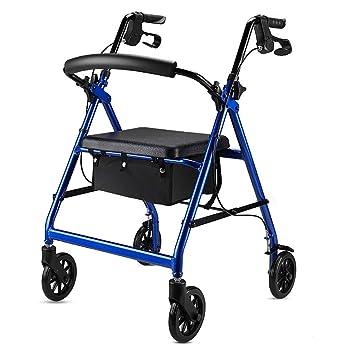 QETU De Peso Ligero de Aluminio Plegable Andador Walker - Asiento con Ruedas para minusválidos Handicap