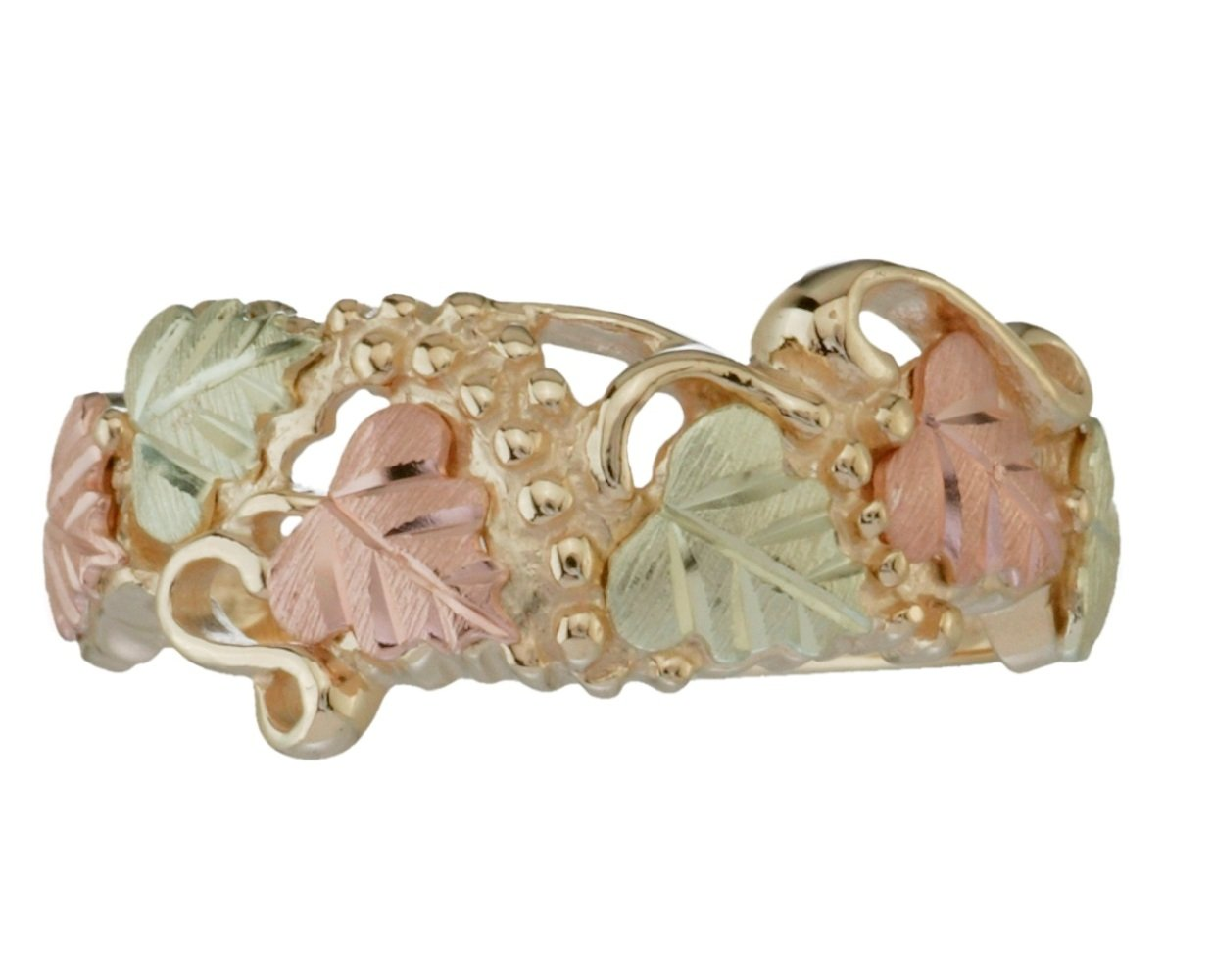 Victorian Style Band, 10k Yellow Gold, 12k Green and Rose Gold Black Hills Gold Motif, Size 6.75