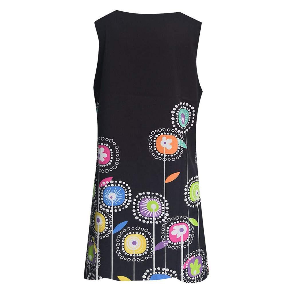 HHmei Women Vintage Elegant Boho Summer Sleeveless Beach Printed Short Mini Dress Knee Length
