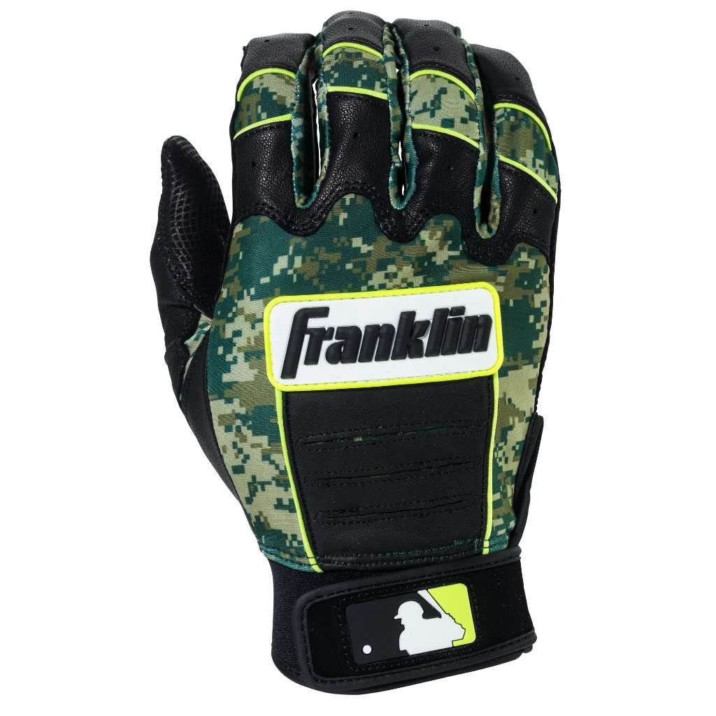 Franklin Sports Adult MLB CFX Pro Digi Series Batting Gloves, Pearl/Green, Small