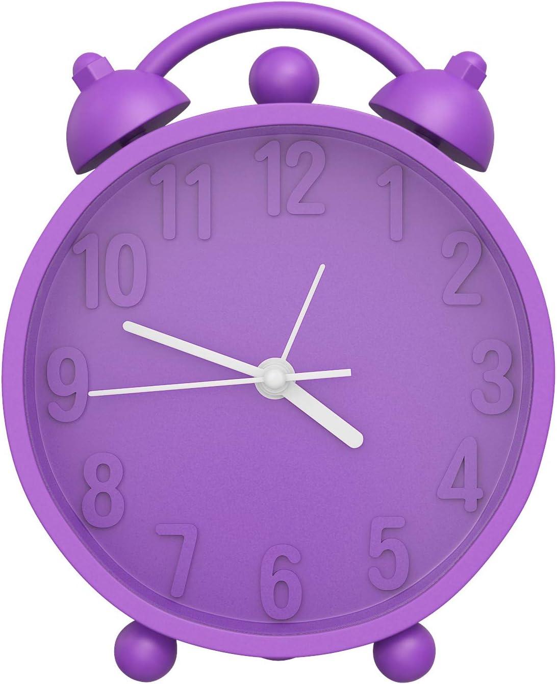MoKo Despertador de Doble Campana, Alarma Digital Clásicos de Silicona Suave de Escritorio, Alimentado por Batería(No Incluido) - Morado
