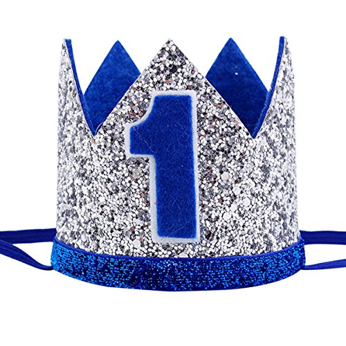 Glitter Blue One Crown Photo Props Cake Smash Props First Birthday Crown