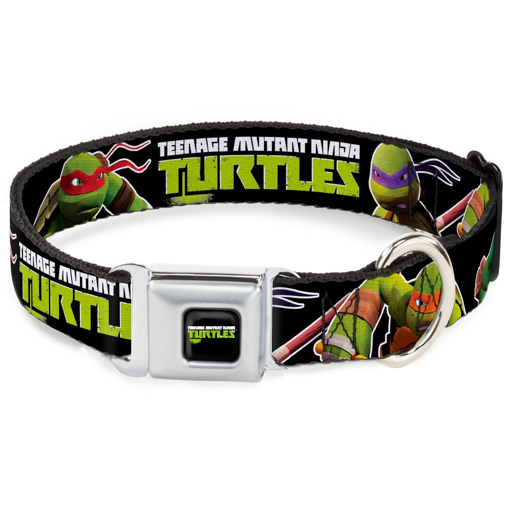 Buckle-Down Seatbelt Buckle Dog Collar New Series TMNT Logo1 Character Action Pose2 Black 1  Wide Fits 9-15  Neck Small